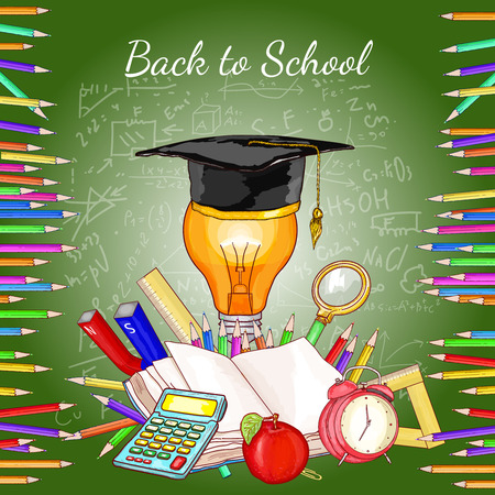 light classroom: Back to school concept education school tools blackboard vector illustration