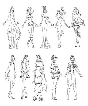 fashion model: Fashion Model sketch collection hand drawn vector