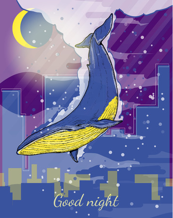 sky dive: Whale flies through the night sky blue whale dives into the night city creative art surreal fantasy background hand drawn vector