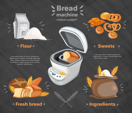 bread maker: Bakery products bread machine fresh bread rolls bag of flour vector
