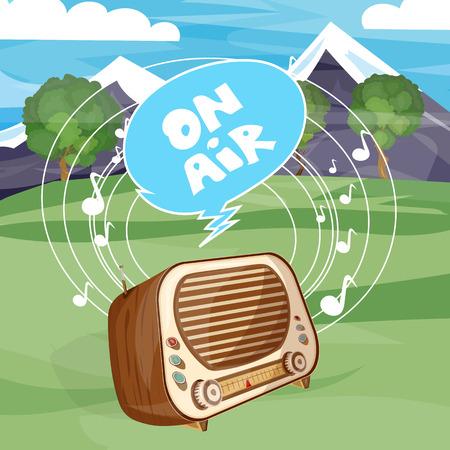 fm: Retro old radio on air cartoon vector Illustration