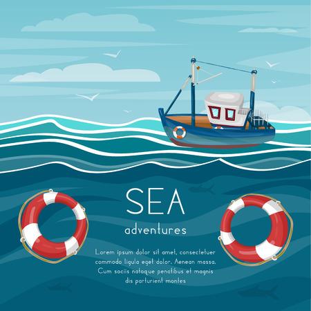 예인선 바다 모험 만화 벡터