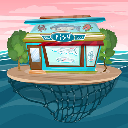 fish shop: Fish shop cartoon sea food facade building vector