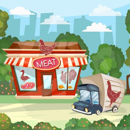raw chicken: Meat shop cartoon butcher store facade building vector