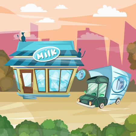 facade building: Milk shop cartoon dairy store facade building vector Illustration