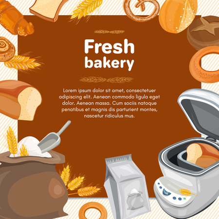 rye bread: Bakery products fresh loaf of rye bread with breadmaker baked goods cartoon vector Illustration