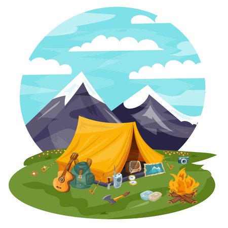 outdoor goods: Camping cartoon vector illustration. Tourist tent in mountains. Guitar, kerosene lamp, compass, map, ax, canned.  Background for travel trekking hiking, sports, nature, outdoor recreation.