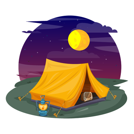 Tent under a night sky. Camping cartoon vector