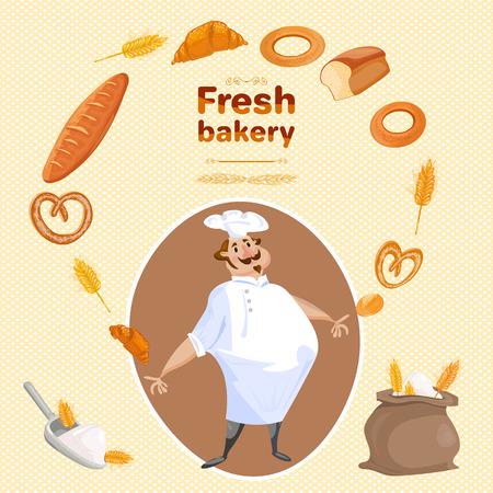 buns: Baker bakes bread and buns bakery products cartoon vector