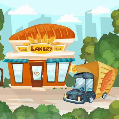 facade building: Bakery shop cartoon fresh bread store facade building vector Illustration