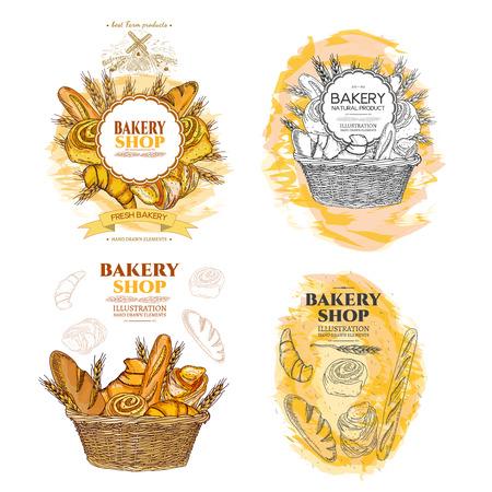 パン屋さんのパンと枝編み細工品バスケット コレクション焼きたてのペストリー テンプレート手描きの背景でロール 写真素材 - 61054466