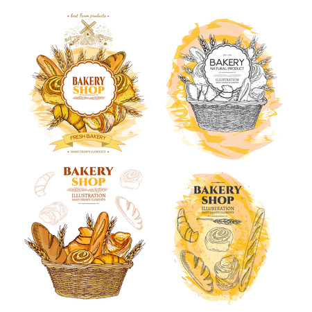 Bakery bread and rolls in wicker basket collection fresh pastries templates hand drawn vector Illustration