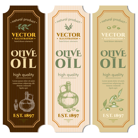 Labels olive oils hand drawn ink vector Vettoriali