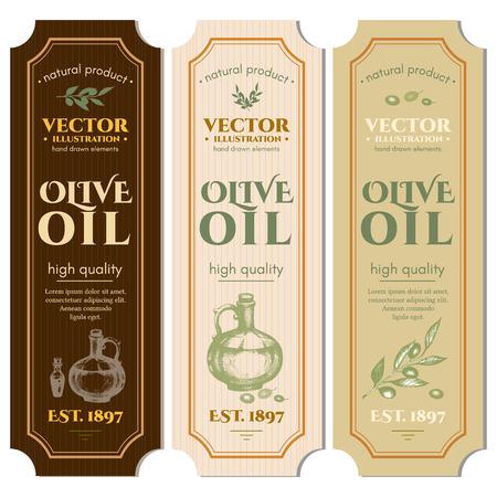 Labels olijfolie hand getrokken inkt vector Stock Illustratie