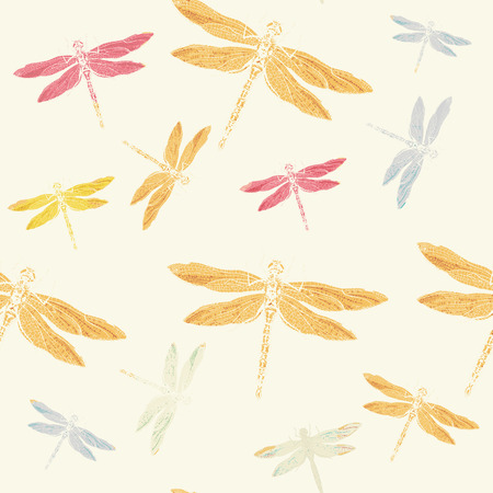 hand print: Colorful dragonflies seamless pattern print effect ink hand draw vector