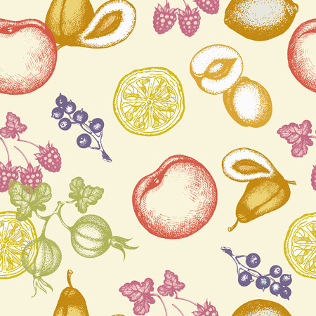 engravings: Fruits seamless pattern ink hand drawn vector illustration
