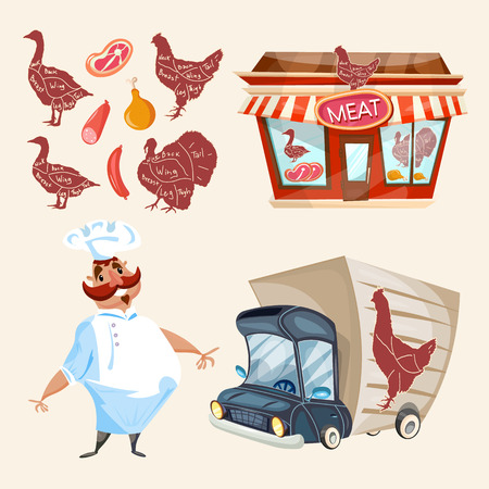 fresh meat: Butcher shop fresh meat cook delivery truck vector set