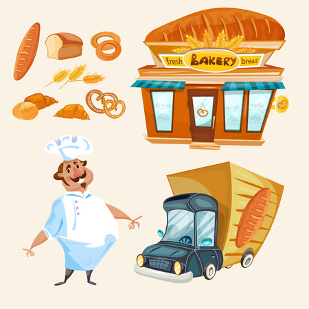 Bakery shop fresh bread baker delivery truck vector set