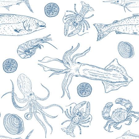Sea food seamless vecteur