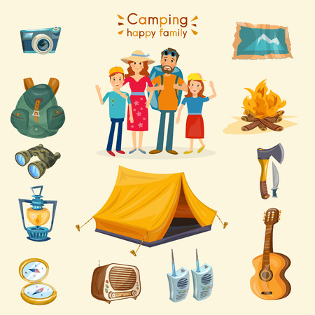 family hiking: Camping family infographics cartoon hiking and outdoor recreation vector
