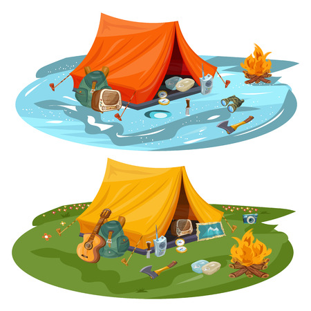 Camping hiking and outdoor recreation cartoon vector
