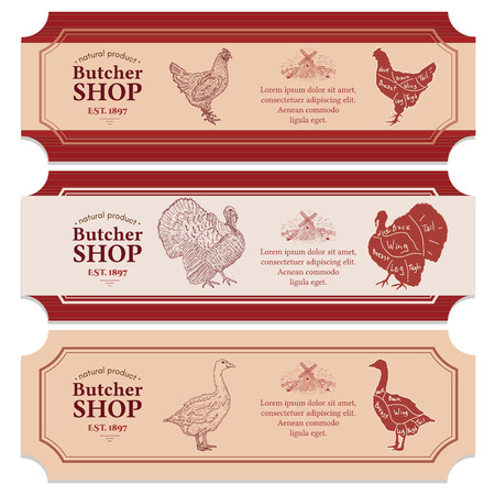 Butcher shop labels meat chicken goose turkey vector banners