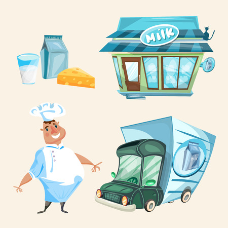 milkman: Milk shop dairy products milkman delivery truck vector set Illustration