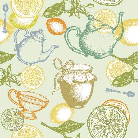 차 원활한 패턴 찻 주전자 레몬 잼 항아리 손으로 그린 잉크 벡터