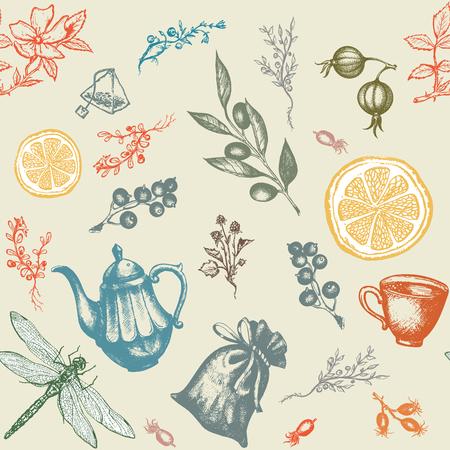 herbal tea: Herbal tea seamless pattern decorative hand drawn ink vintage background