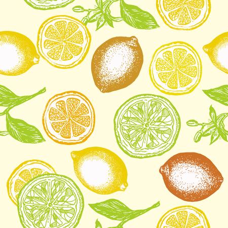 Citrus seamless pattern lemons and oranges vintage citrus hand drawn ink background