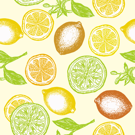Citrus seamless pattern lemons and oranges vintage citrus hand drawn ink background
