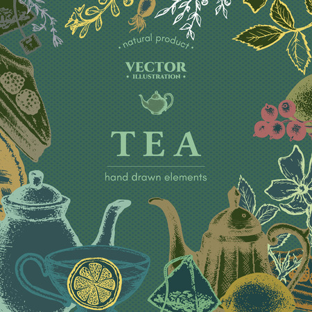 inking: Tea vector card design hand drawn illustration. Decorative inking engraved background Illustration
