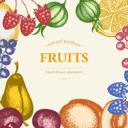 inking: Vintage card design with vector inking fruits and berries sketch. Healthy food retro frame for menu Illustration