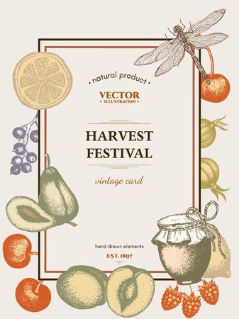 harvest festival: Harvest festival retro poster hand drawn vector Illustration