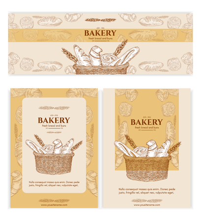 bread basket: Bakery shop bakery products baking banners bakery template bread basket signage hand drawn vector illustration Illustration