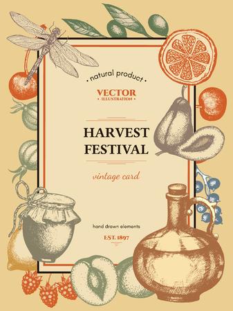 harvest festival: Harvest festival vintage poster harvest time vector vintage card frame with berries and fruits Illustration