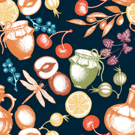 Harvest time fresh fruits and berries seamless pattern hand drawn vector