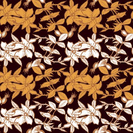 wild rose: Wild rose seamless pattern golden flowers hand drawn vector