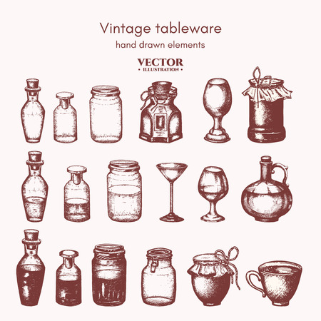 canning: Vector collection bottles and jars ink hand drawn. Vintage decorative glass canning jars isolated on white vector illustration Illustration