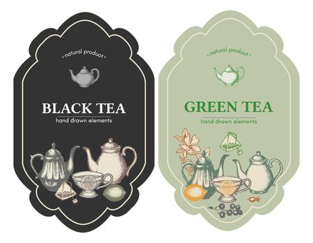 vintage labels met de hand zwarte en groene thee getrokken inkt vector illustratie