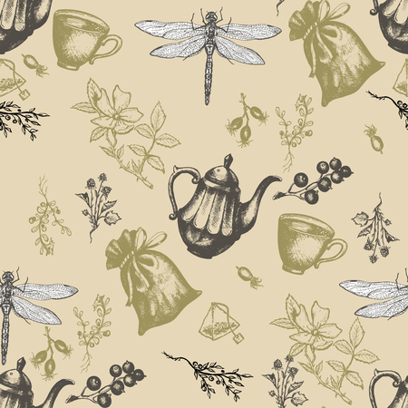 herbal tea: Herbal tea seamless pattern herbs and flowers botanical vintage herbs tea background hand drawn ink vector Illustration