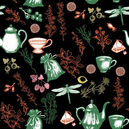 herbal tea: Herbal tea seamless pattern vector Illustration