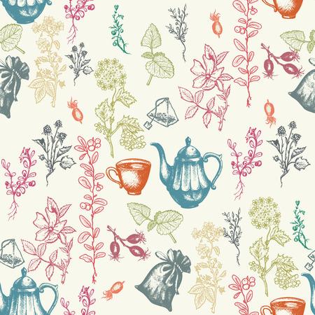 herbal tea: Herbal tea seamless pattern hand drawn ink vector