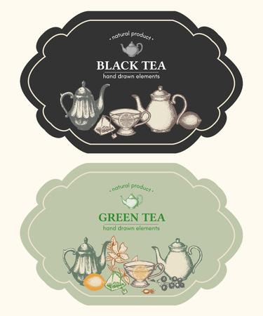 Zwarte thee en groene thee ontwerp vintage etiketten vectorillustratie