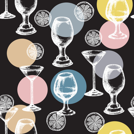 amaretto: Alcohol drinks seamless pattern vector