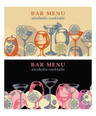 vermouth: Alcohol drinks vector banner bar menu vintage template