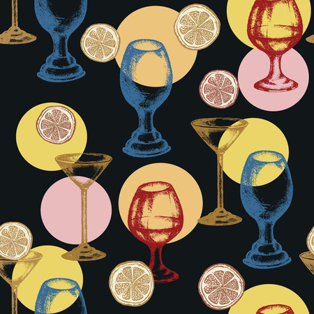 Alcoholic cocktails seamless pattern vector