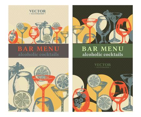 amaretto: Alcohol banner cocktails hand drawn bar menu vintage template