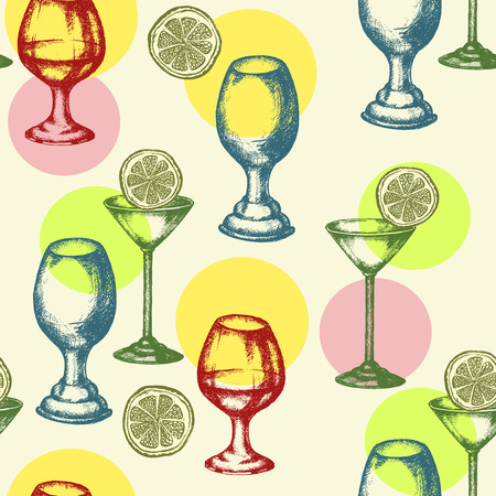 vermouth: Alcoholic cocktails seamless pattern hand drawn ink vintage vector Illustration