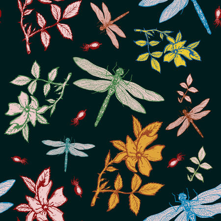 wild rose: Dragonfly and wild rose autumn seamless pattern Illustration